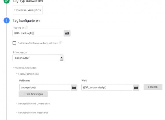 Variable für die Anonymisierung im Tagmanager einfügen