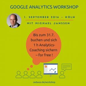 Buchen Sie bis zum 31. Juli 2016 den Google Analytics Workshop und Sie erhalten eine Stunde kostenloses Coaching.