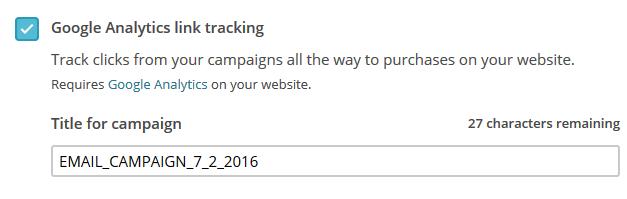 Screenshot aus Mailchimp zur Kampagneneinstellung