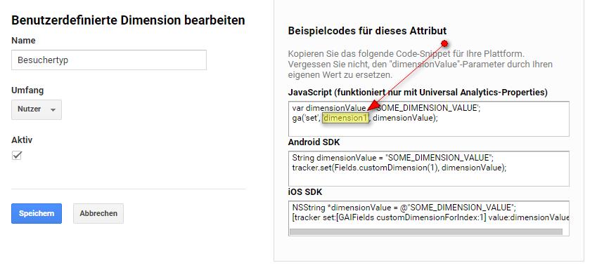 Screenshot: Benutzerdefinierte Dimension bearbeiten in Google Analytics, um eigene Besuche auszuschließen