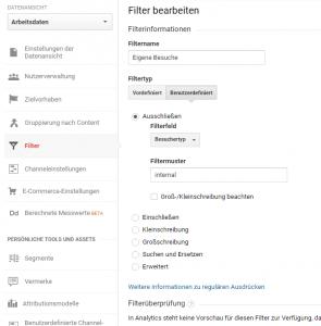 Screenshot: Filter bearbeiten in Google Analytics, um mittels Dimensionen eigene Besuche auszuschließen