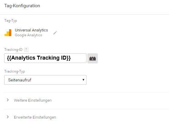 Variablen verwenden in einem Tag im Google Tag Manager