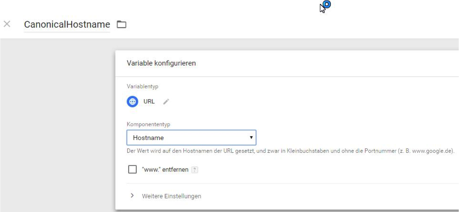 Canonical im Tag Manager: Den Hostname lege ich als URL-Variable an.