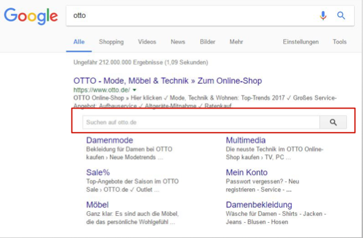 Die Sitelinks Searchbox von Google –mit JSON LD und dem Tag Manager kann ich die Searchbox definieren.