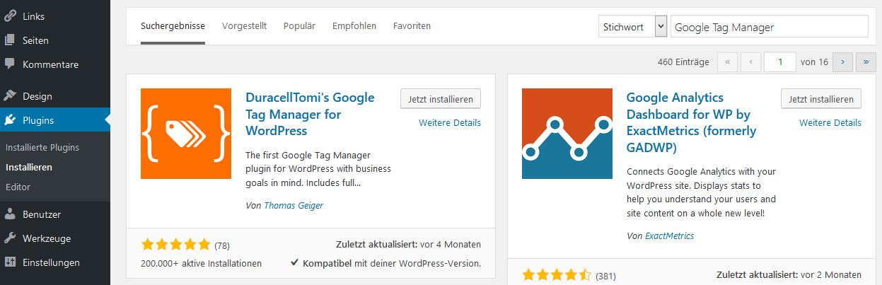 Installationsansicht in WordPress: Plugin hinzufügen
