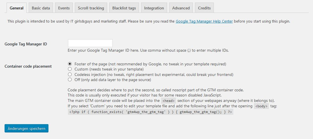 Das DuracellTomi's Google Tag Manager for WordPress einrichten