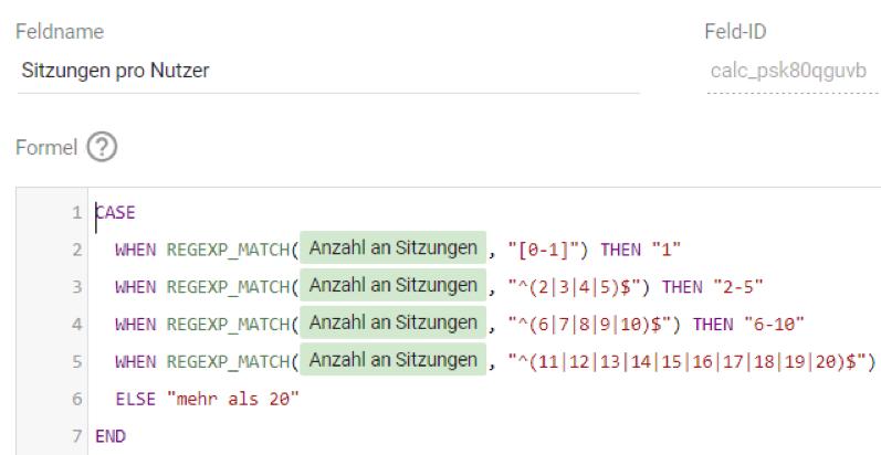 Beispielsberechnung mit Hilfe von Formeln und Funktionen in Google Data Studio