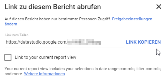 Google Data Studio Shortlink für einen Report