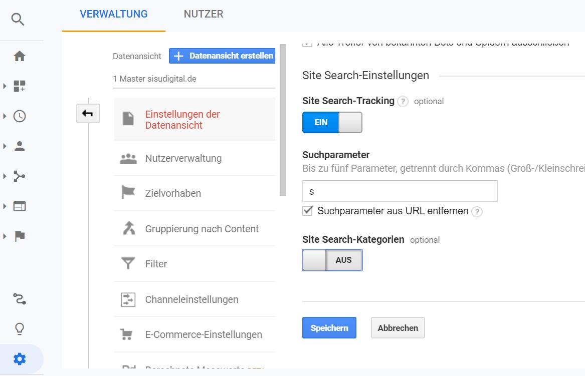 Google Analytics: Interne Suche erfassen