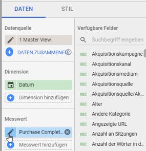 Bezeichnungen in Google Data Studio ändern