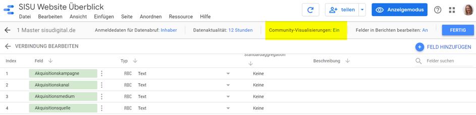 Google Data Studio: Daten von dieser Datenquelle mit Hilfe von Community-Visualisierungen angezeigen