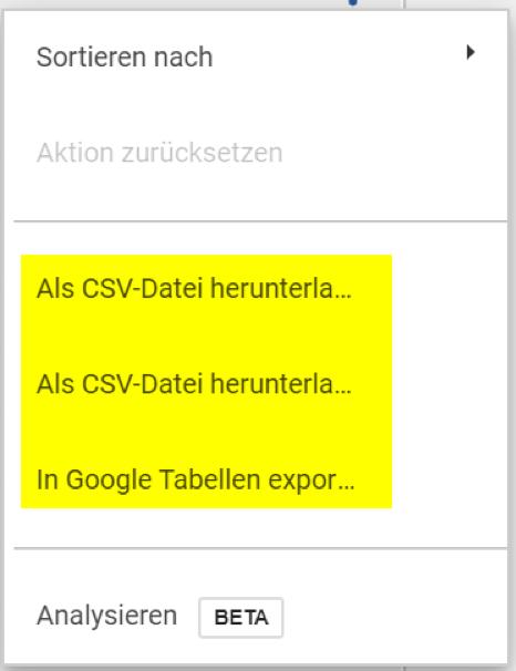 Daten aus Tabellen in Google Data Studio exportieren