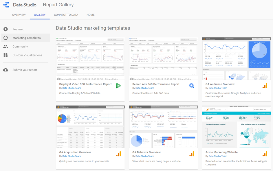 Google Data Studio Tipp: Templates aus der Report Gallery