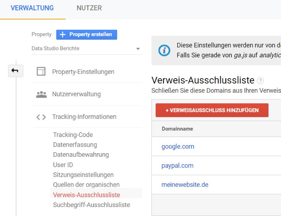 Google Analytics Tipp: Eigene Website auf Verweisausschlussliste
