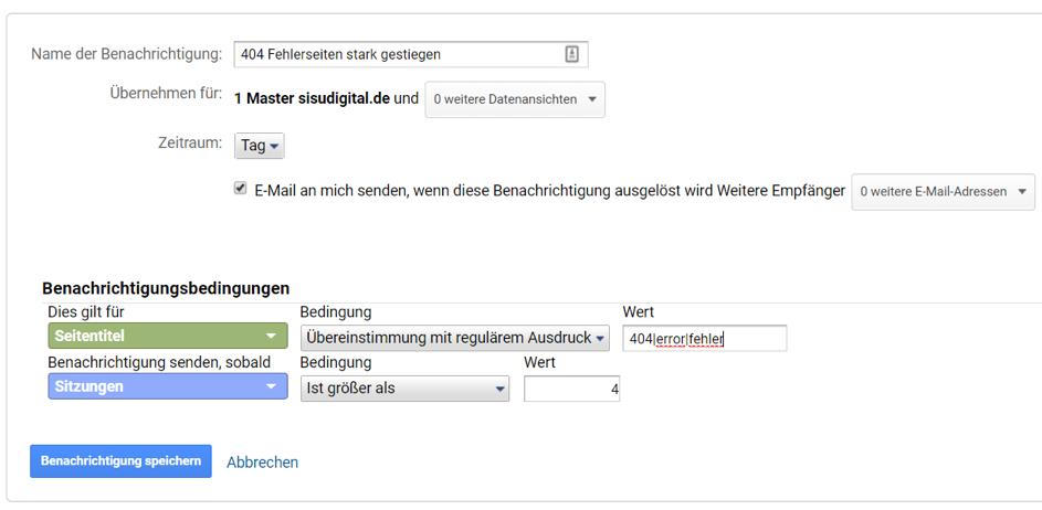 Google Analytics Tipp: benutzerdefinierte Benachrichtigung/Alerts einrichten
