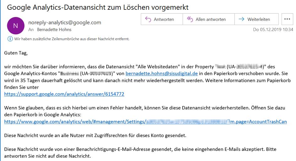 Google Analytics Tipps: Datenansicht löschen. Screenshot:  E-Mail Benachrichtigung nach Löschen einer Datenansicht: