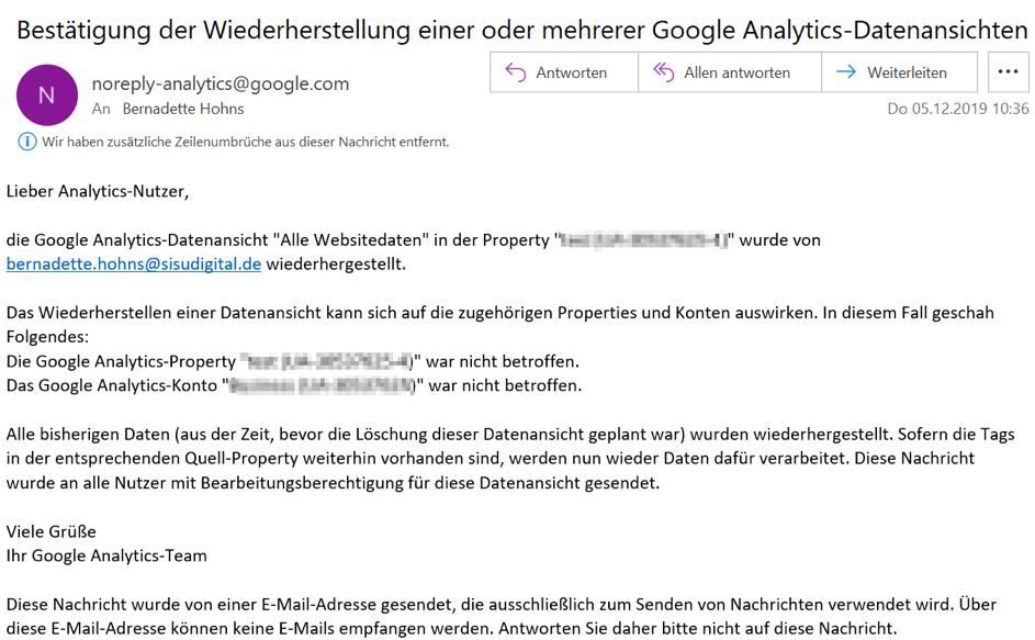 Google Analytics Tipps: Datenansicht löschen. Screenshot:  E-Mail Benachrichtigung Wiederherstellung einer Datenansicht: