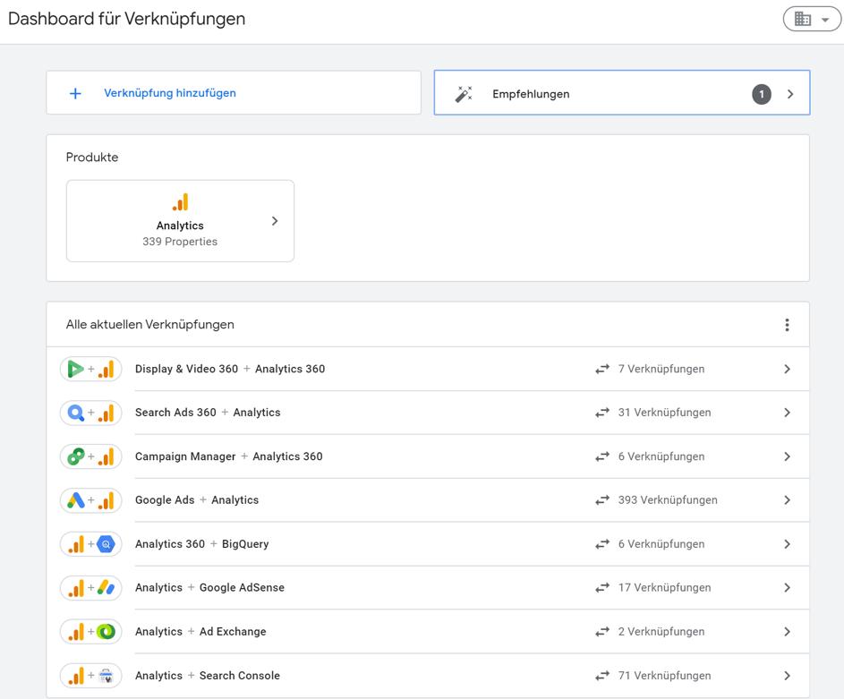 Google Analytics Tipps 14: Organisation für Google-Produkte erstellen  Schritt 3
