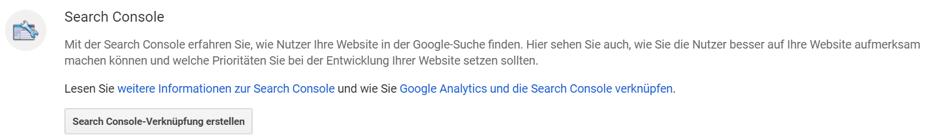Google Search Console mit Google Analytics verbinden:  Schritt 1