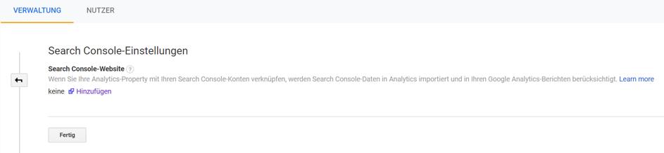 Google Search Console mit Google Analytics verbinden:  Schritt 2