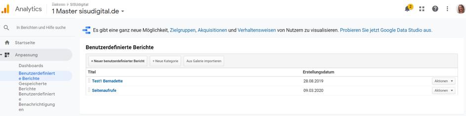 Google Analytics Tipp: Eigene, benutzerdefinierte Berichte anlegen und verwenden – Schritt 1