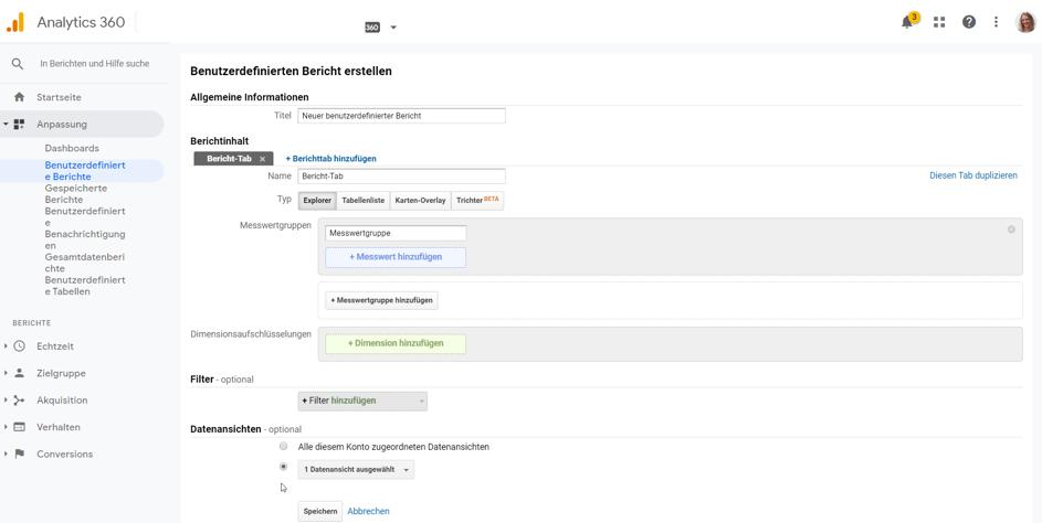 Google Analytics Tipp: Eigene, benutzerdefinierte Berichte anlegen und verwenden – Schritt 2
